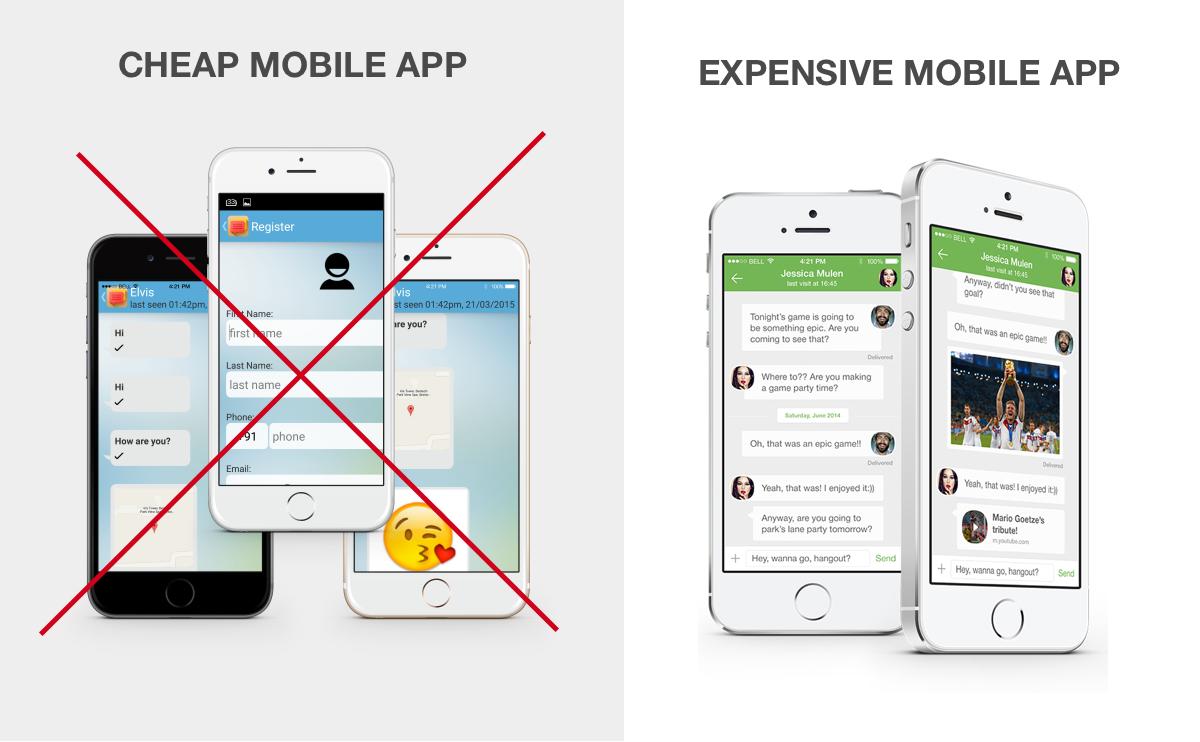 Cheap vs costosa aplicación móvil
