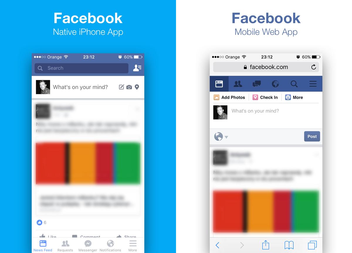 Aplicación nativa de Facebook vs aplicación Web